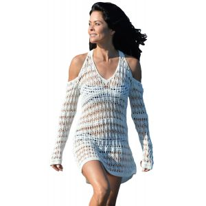 Long Sleeves Cut out Shoulder Crochet Beachwear - СВЕЖИЕ ПОСТУПЛЕНИЯ!