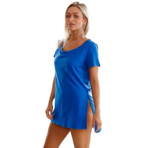 Dark Blue Cozy Short Sleeves T-shirt Cover-up - СВЕЖИЕ ПОСТУПЛЕНИЯ!