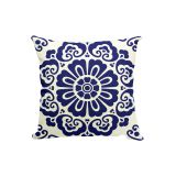 Navy Blue Decorative Print Throw Pillow Cover
