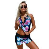 Elegant Floral Zip Front Sporty 2pcs Tankini Swimsuit