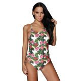 Tropical Print Ladder Back One Piece Swimsuit