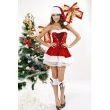 Plus Size 3pcs Red Velvet Christmas Corset Set