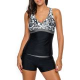 Grey White Spots 2pcs Tankini Bathing Suit