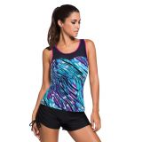 Purple Trim Greenish Graffiti Print Mesh Splice Tankini Top