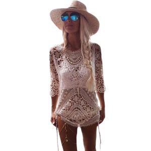 Sheer Crochet Open Back Beachwear