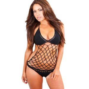 Sexy Crochet Fishnet Detail Black One Piece Swimsuit
