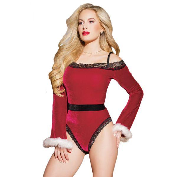 Sexy Black Red Velvet Santa Teddy Christmas Costume