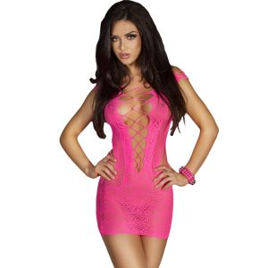 Rosy Crotchet Mesh Hollow-out Mini Chemise Dress