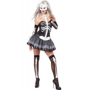 3pcs Sexy Skeleton Halloween Masquerade Costume