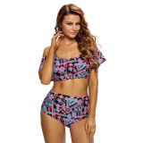 Abstract Geometry Print Ruffle 2pcs Swimsuit