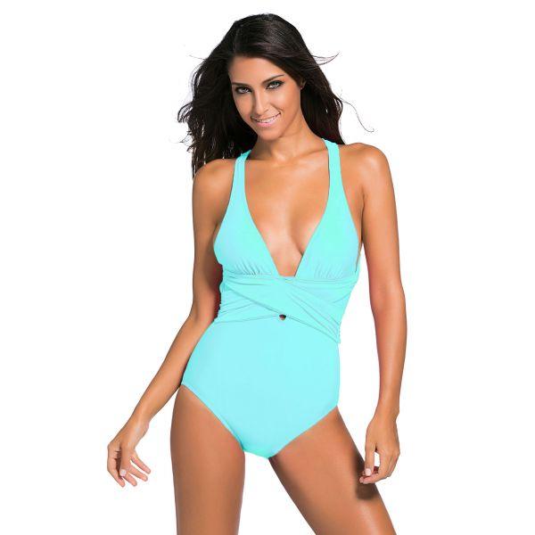 Mint Blue Self Tie One Piece Swimsuit