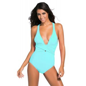 Mint Blue Self Tie One Piece Swimsuit - СВЕЖИЕ ПОСТУПЛЕНИЯ!