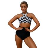 Black White Zigzag Cross Front Bikini high Waist Swimsuit