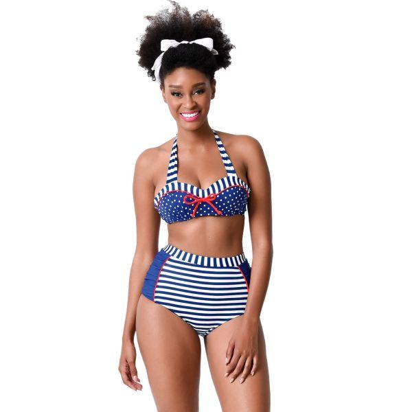 Nautical Navy & White Stripe & Dot High Waist Halter Bikini