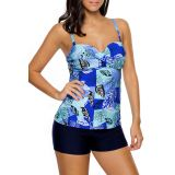Multiple Blue Leaf Print Swimdress Tankini and Shorts