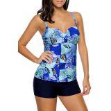 Multiple Blue Leaf Print Swimdress Tankini and Shorts