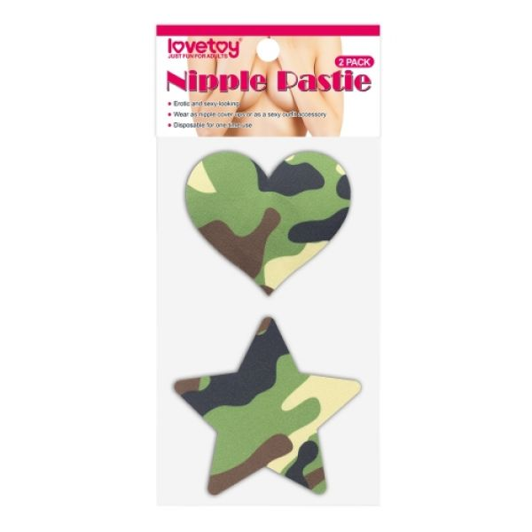 Camo Stars and Heart Nipple Pasties (2 Pack)