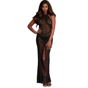 Black One Size Sexy Lace Sleevele Gown & Long Dressss