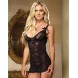 Sexy Black Sheer Lace Babydoll Lingerie