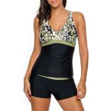 Olive White Spots 2pcs Tankini Bathing Suit