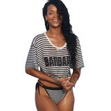 Black White Striped Beach Shirt Beachwear