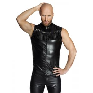 Men Fashion Black Men Leather Tops