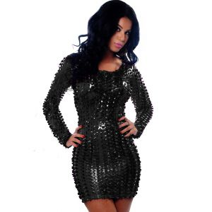 Black Metallic Clubwear Dress with Cut-outs
