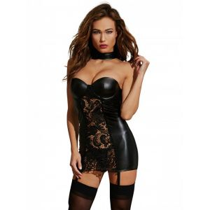 Women Sexy Black Lace Leather Dress