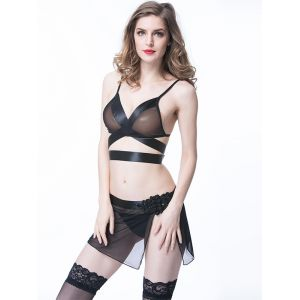 Black Woman Mesh Sexy Lingerie Babydoll Bra and Skirt