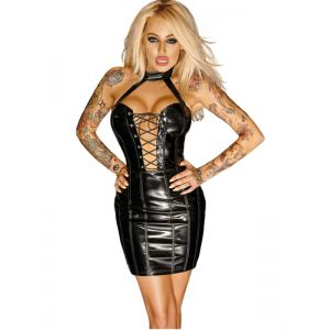 Black Fashion Bandage Vinyl Dress