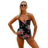 2pcs Floral Print Black Flounce Tankini Swimsuit