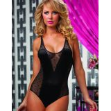 S-3XL Black Sheer Dotted Mesh Sexy Teddy Lingerie