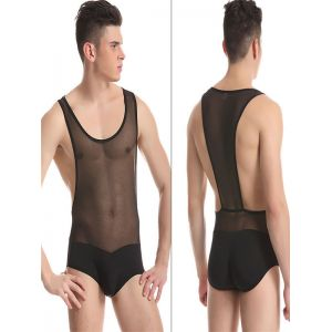 Sexy Black Sheer Wrestling Singlet Underwear