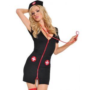 V-neck Zipper Nurse Costume