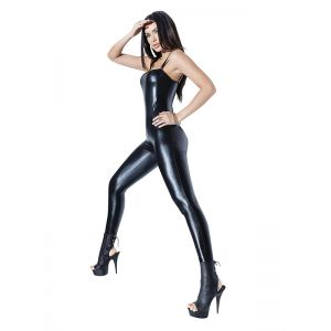 Women Vinyl Black Tirantes Jumpsuit