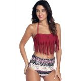 Red Halter Fringed Floral Printed Bikini Swimsuit
