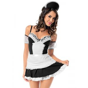 Black Adult Cosplay French Maid Costume