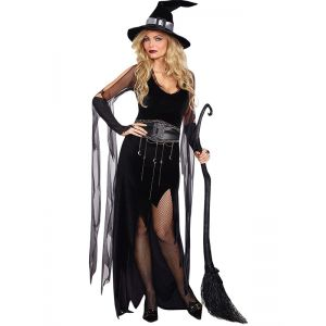 Black halloween Wearing Dress With Belt