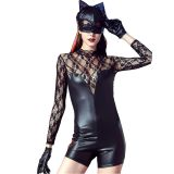 Sexy Wet Look Vinyl Lace Costume Catsuit