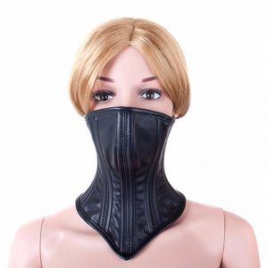 Leather Neck Corset Collar Kinky Restraint Muzzle Mask Lockin