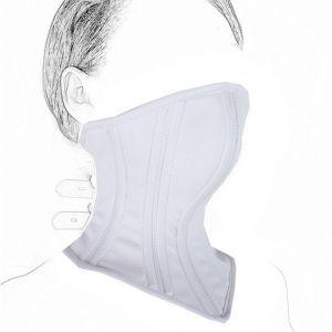 Leather Neck Corset Collar Kinky Restraint Muzzle Mask Lockin white