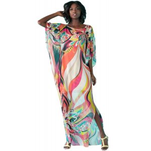Цветастое длинное платье для пляжа - Пляжная одежда