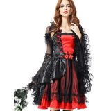Red One Size Lace Floral Print Halloween Costume