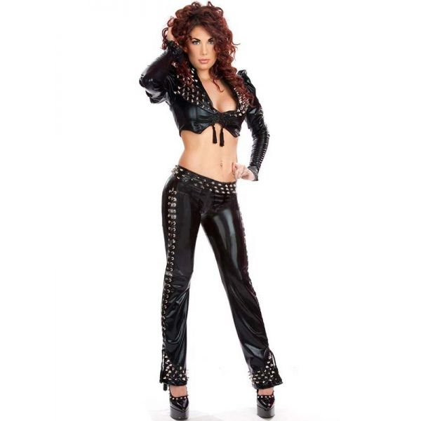 Sexy Black 2 Pcs Catsuit With Rivet