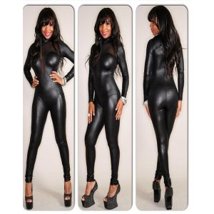 Gothic Zipper Snake Kin Print Lame Black Bodysuit