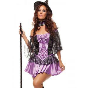 Purple Off Shoulder halloween Witch Costume