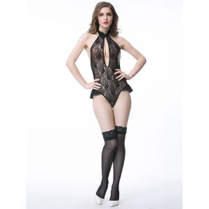 Black Woman Lace Up halter Sexy Teddies Lingerie
