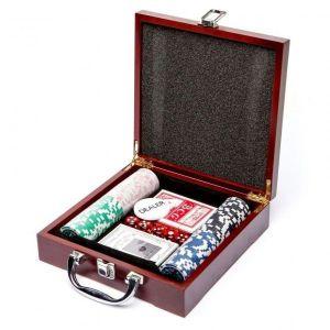 РАСПРОДАЖА! Набор для покера 100 Pc Poker Game Set (в деревянном кейсе)