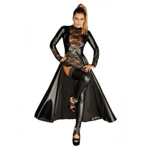 Leather Women Sexy Black Long Dress