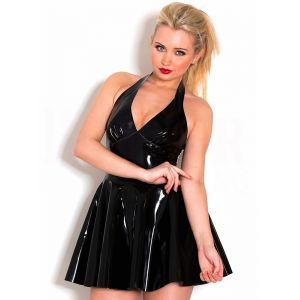 Black Queen Wetlook halter Mini Dress